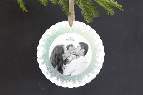 Shimmery Pines Foil-Pressed Holiday Ornament Cards