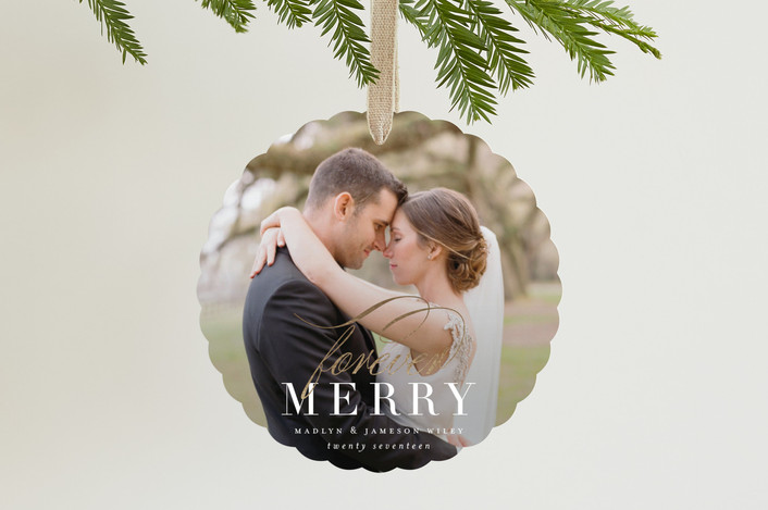 """forever merry"" - Foil-pressed Holiday Ornament Cards in Pearl by Sara Hicks Malone."