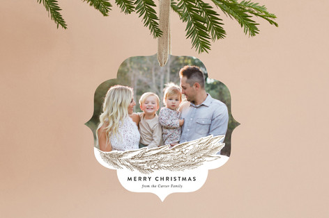 Gilded Pine Bough Foil-Pressed Holiday Ornament Cards