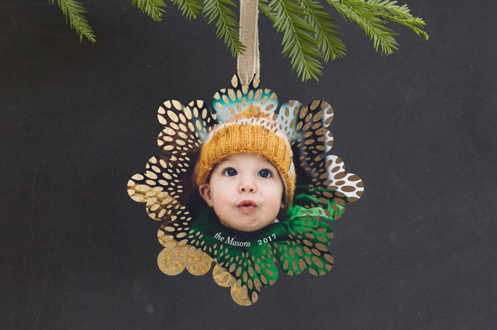 """""""Monarch"""" - Modern Foil-pressed Holiday Ornament Cards in Snow by Snow and Ivy."""