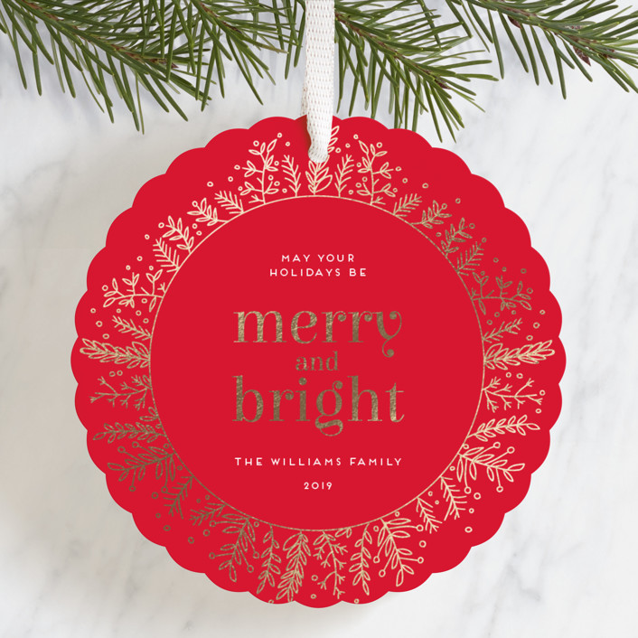 """Golden Foliage"" - Foil-pressed Holiday Ornament Cards in Cardinal by Bethan."
