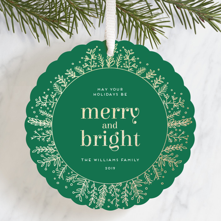 """""""Golden Foliage"""" - Foil-pressed Holiday Ornament Cards in Cardinal by Bethan."""