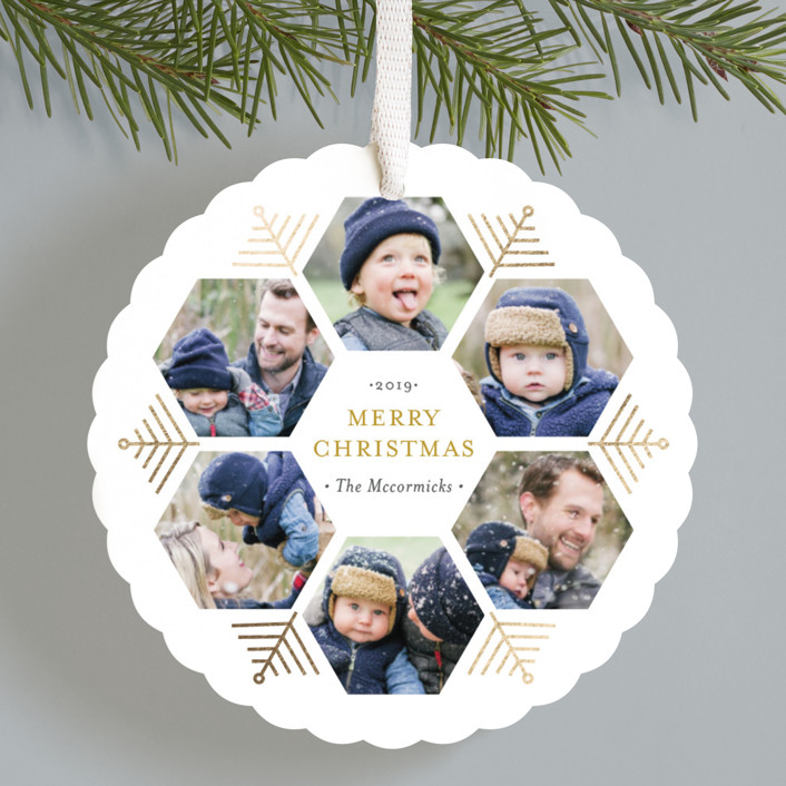 """""""Hexagon Holiday"""" - Foil-pressed Holiday Ornament Cards in Frozen by Beth Schneider."""