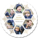 This is a yellow holiday card ornament by Beth Schneider called Hexagon Holiday with foil-pressed printing on smooth signature in ornament.