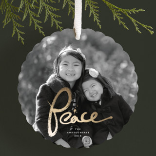 Brushed Peace Foil-Pressed Holiday Ornament Cards