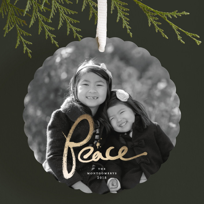 """""""Brushed Peace"""" - Foil-pressed Holiday Ornament Cards in Diamond by fatfatin."""