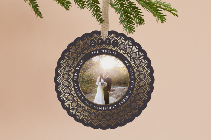 """""""Art Deco Snowflake"""" - Vintage Foil-pressed Holiday Ornament Cards in Midnight by Kelsey Mucci."""