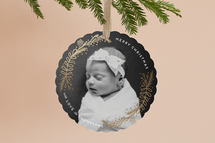 """""""Golden Christmas"""" - Foil-pressed Holiday Ornament Cards in Linen by Ashlee Townsend."""