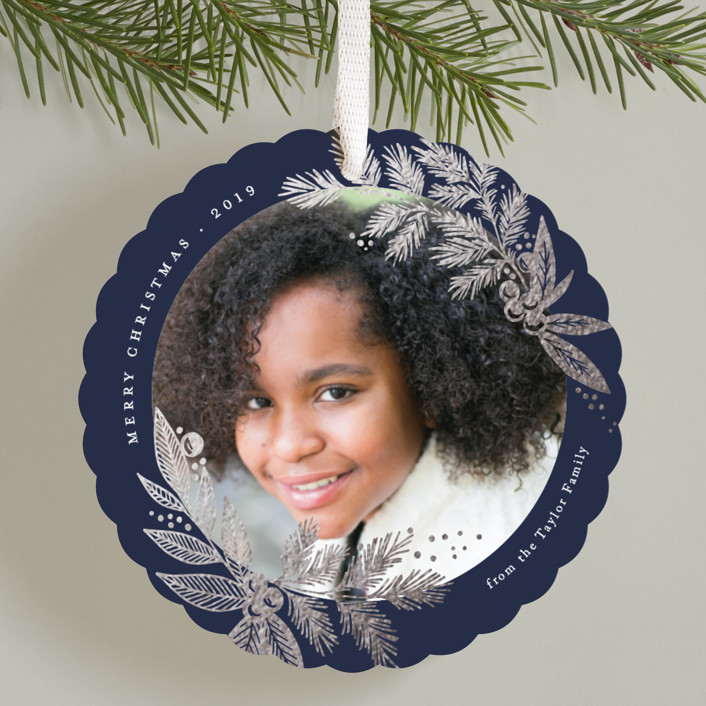 """Foliage framed"" - Foil-pressed Holiday Ornament Cards in Navy by Alethea and Ruth."