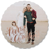 This is a white holiday card ornament by Alethea and Ruth called Merry Christmas Sparkle Snow with foil-pressed printing on smooth signature in ornament.