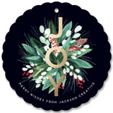 This is a blue holiday card ornament by Petra Kern called Wreath Me with foil-pressed printing on signature in ornament.