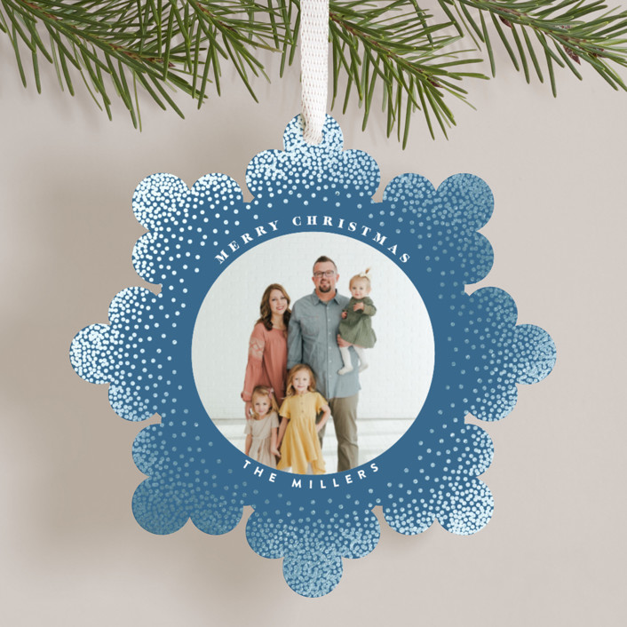 """Snowflake"" - Bohemian, Modern Foil-pressed Holiday Ornament Cards in Frost by Owl and Toad."