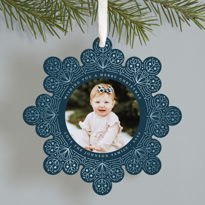"""""""Scandinavian Snowflake"""" - Vintage Foil-pressed Holiday Ornament Cards in Forest by Amy Payne."""