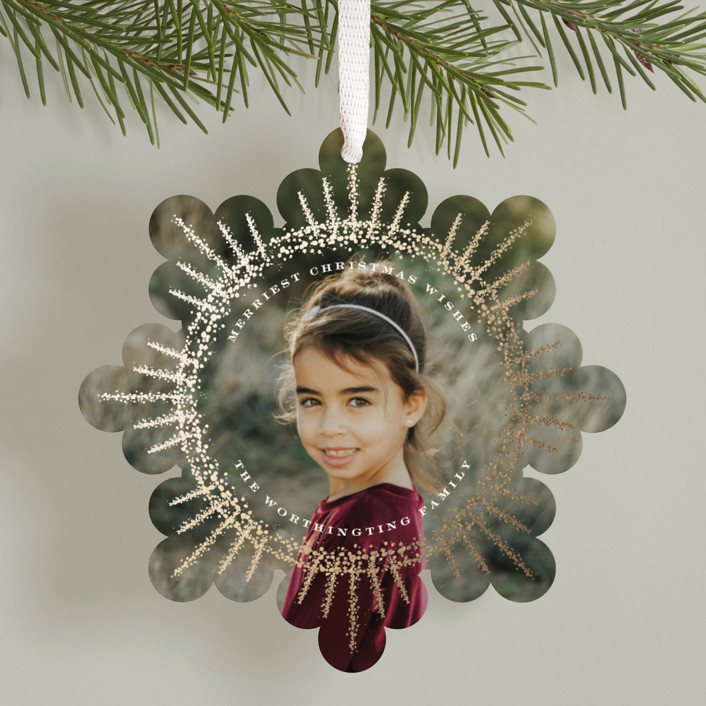 """""""Sparkling Starburst"""" - Bohemian Foil-pressed Holiday Ornament Cards in Snow by fatfatin."""