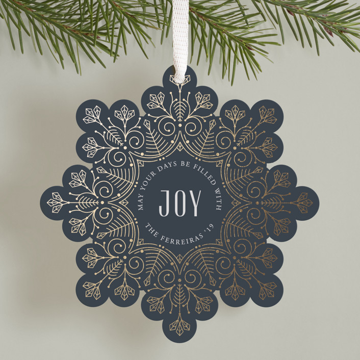"""""""Christmas snowflake"""" - Vintage Foil-pressed Holiday Ornament Cards in Midnight by Ana de Sousa."""