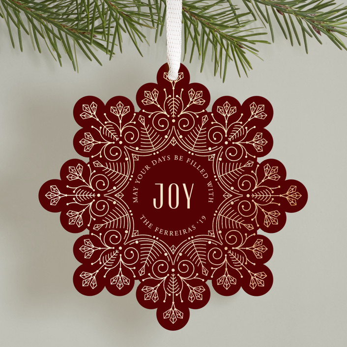 """Christmas snowflake"" - Vintage Foil-pressed Holiday Ornament Cards in Holly by Ana de Sousa."