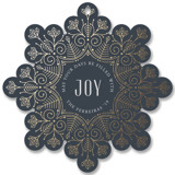 This is a blue holiday card ornament by Ana de Sousa called Christmas snowflake with foil-pressed printing on signature in ornament.