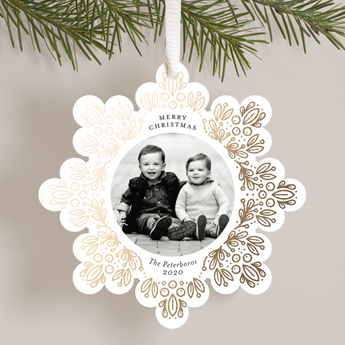 """""""Leafy Repeat"""" - Foil-pressed Holiday Ornament Cards in Onyx by Genna Blackburn."""