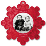 This is a red holiday card ornament by Genna Blackburn called Leafy Repeat with foil-pressed printing on smooth signature in ornament.