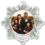 This is a red holiday card ornament by Carolyn Kach called Snowflake Wreath with foil-pressed printing on smooth signature in ornament.