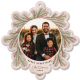 This is a pink holiday card ornament by Carolyn Kach called Snowflake Wreath with foil-pressed printing on smooth signature in ornament.