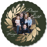This is a green holiday card ornament by Rebecca Durflinger called Festive Wreath with foil-pressed printing on smooth signature in ornament.