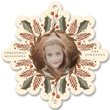 This is a yellow holiday card ornament by Becky Nimoy called Holly Snowflake with foil-pressed printing on recycled smooth signature in ornament.