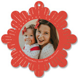 This is a red holiday card ornament by Lori Wemple called Grateful to God with foil-pressed printing on smooth signature in ornament.