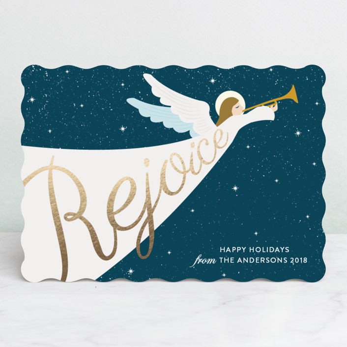 """Angel"" - Foil-pressed Holiday Cards in Deep Teal by Elly."