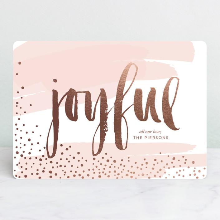 """Very Joyful"" - Bohemian Foil-pressed Holiday Cards in Winter Rose by Erin Deegan."