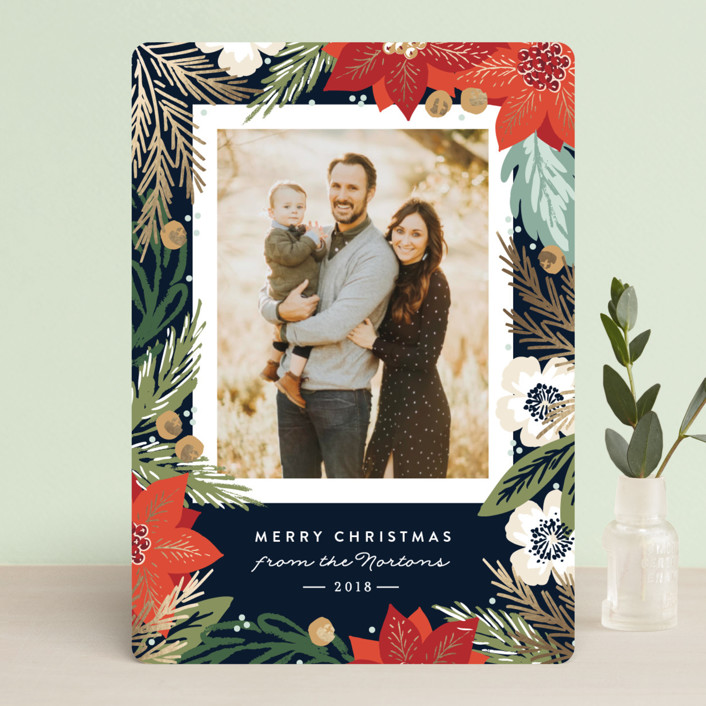 """Winter Botanicals"" - Foil-pressed Holiday Cards in Mistletoe by Alethea and Ruth."