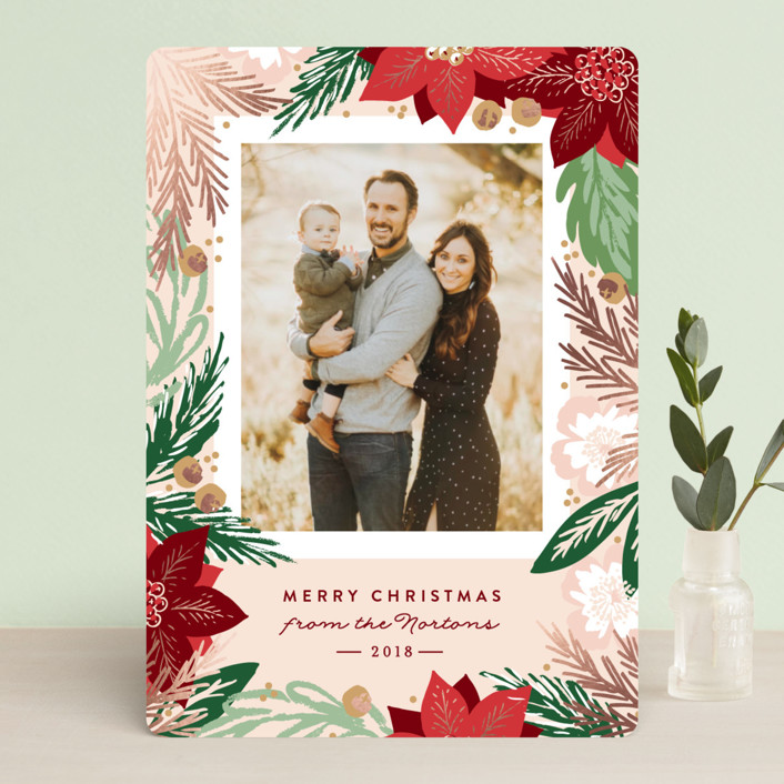 """""""Winter Botanicals"""" - Foil-pressed Holiday Cards in Mistletoe by Alethea and Ruth."""