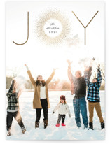 This is a black foil stamped holiday card by Erica Krystek called Joyburst with foil-pressed printing on smooth signature in standard.