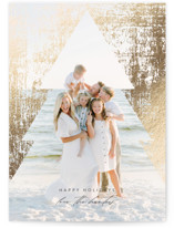 This is a black foil stamped holiday card by Lisa Cersovsky called Distressed with foil-pressed printing on smooth signature in standard.