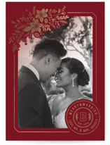 This is a red foil stamped holiday card by Paige Rothhaar called Mistletoe Married with foil-pressed printing on smooth signature in standard.