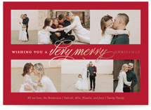 This is a red foil stamped holiday card by Ellis called Very Merry with foil-pressed printing on smooth signature in standard.