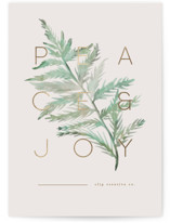 This is a green foil stamped holiday card by Creo Study called Peace And Joy with foil-pressed printing on signature in standard.