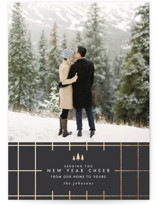 This is a grey foil stamped holiday card by Carolyn Nicks called Modern Grid with foil-pressed printing on smooth signature in standard.
