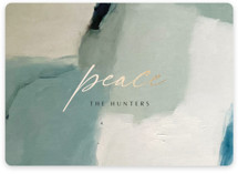 This is a yellow foil stamped holiday card by Nicoletta Savod called Peaceful Abstract with foil-pressed printing on signature in standard.