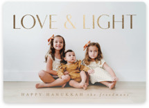 This is a brown foil stamped holiday card by Jen Huppert called Modern Love & Light with foil-pressed printing on smooth signature in standard.