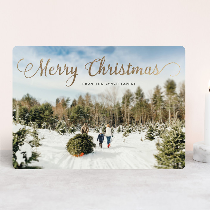 """""""Stylish and Merry"""" - Full-Bleed Photo Foil-pressed Holiday Cards in Full Bleed by Alexandra Dzh."""