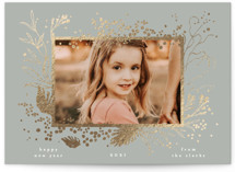 This is a grey foil stamped holiday card by Phrosne Ras called hand drawn foliage with foil-pressed printing on smooth signature in standard.