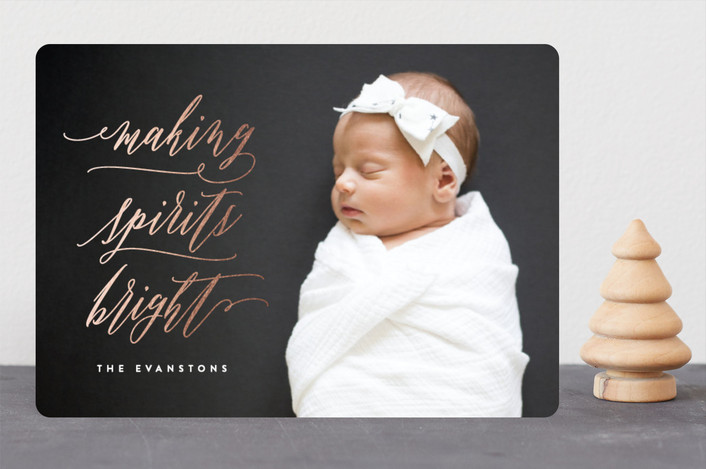 """""""Making Spirits Bright"""" - Foil-pressed Holiday Cards in Rose Gold by Hooray Creative."""