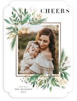 This is a white foil stamped holiday card by Paula Pecevich called Nested Corners with foil-pressed printing on smooth signature in standard.