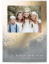 This is a grey foil stamped holiday card by Liz Conley called Radiance with foil-pressed printing on smooth signature in standard.