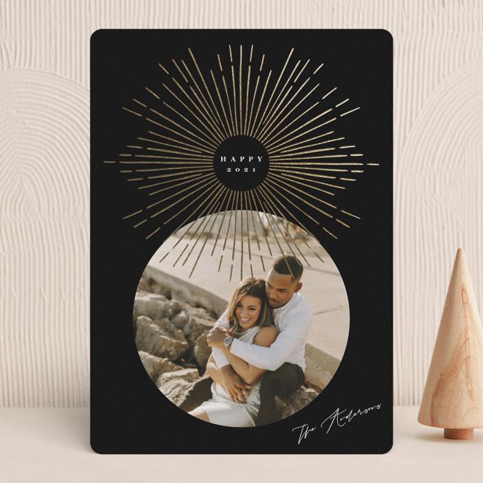 """Star"" - Vintage, Modern Foil-pressed Holiday Cards in Midnight by Yuliya Evseeva."