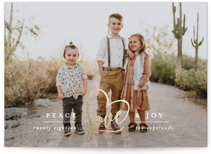 Peace Heart & Joy Foil-Pressed Holiday Cards
