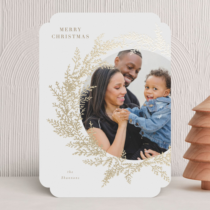 """""""Pacific"""" - Foil-pressed Holiday Cards in Almond by Itsy Belle Studio."""