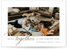 This is a white foil stamped holiday card by Four Wet Feet Studio called Perfect Gift with foil-pressed printing on smooth signature in standard.