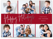 This is a red foil stamped holiday card by Stacey Meacham called Signature grid with foil-pressed printing on smooth signature in standard.